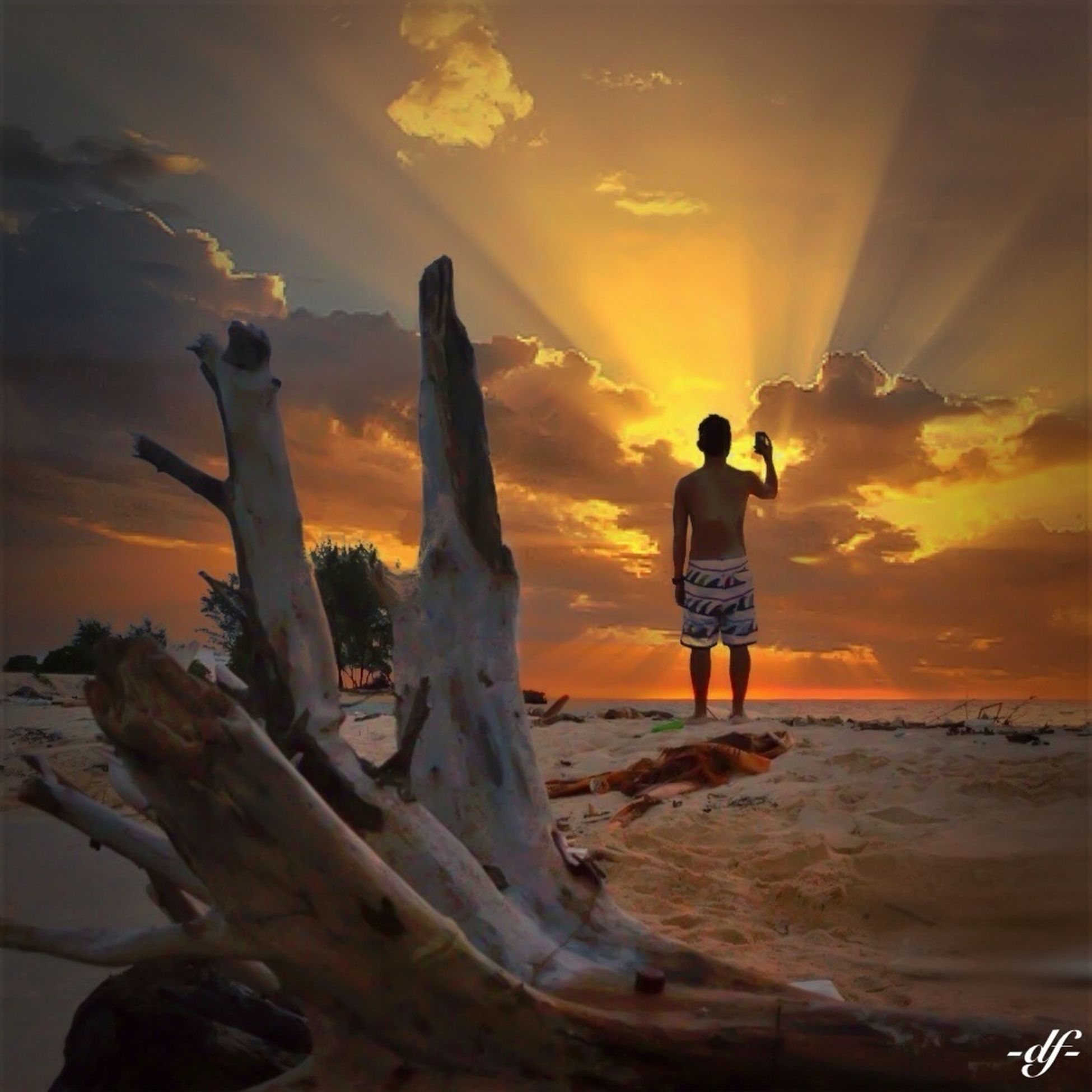 silhouette, outdoors, lifestyles, men, standing, leisure activity, real people, sun, sunset, women, beach, togetherness, tree trunk, rear view, lens flare, light, escapism, getting away from it all, weekend activities, recreational pursuit, vacations
