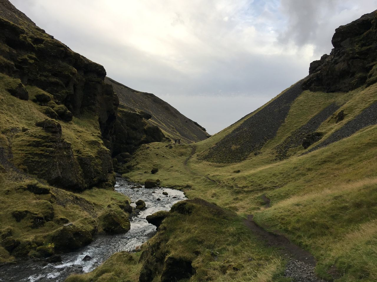 Landscape Mountain Hiking Nature Iceland Beauty In Nature Valley River Stream Grass Kvernufoss My Year My View