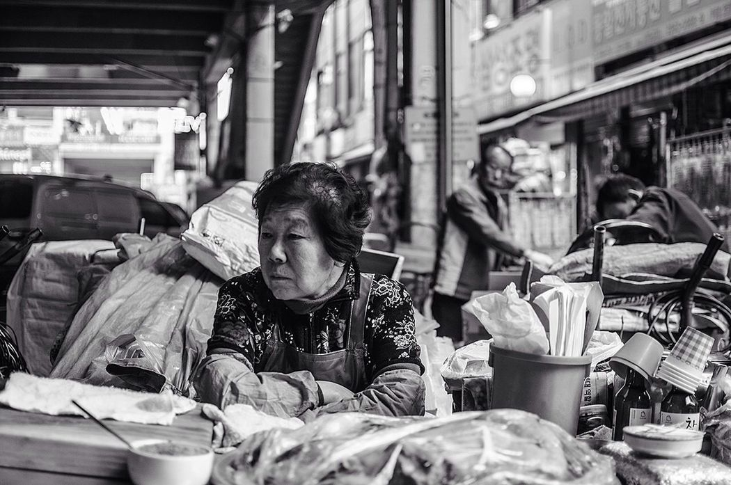 Street Photography People Seoul Black And White