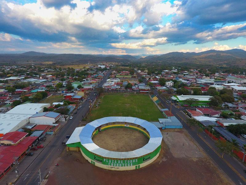 Monumental Redondel Chorotega en Cañas Guanacaste, en vista aérea Aerial View City Cityscape Day Outdoors Sky Stadium Urban Skyline
