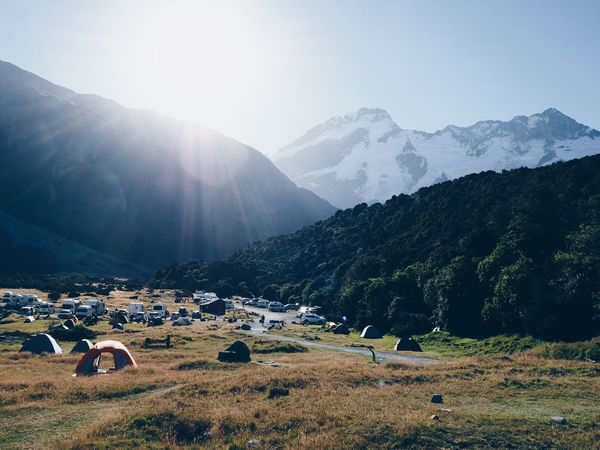 Camping with this view! Mountain Mountain Range Landscape Sunlight Sky Nature Scenics Clear Sky Livestock Outdoors Beauty In Nature Tranquil Scene Day EyeEmNewHere New Zealand Mount Cook