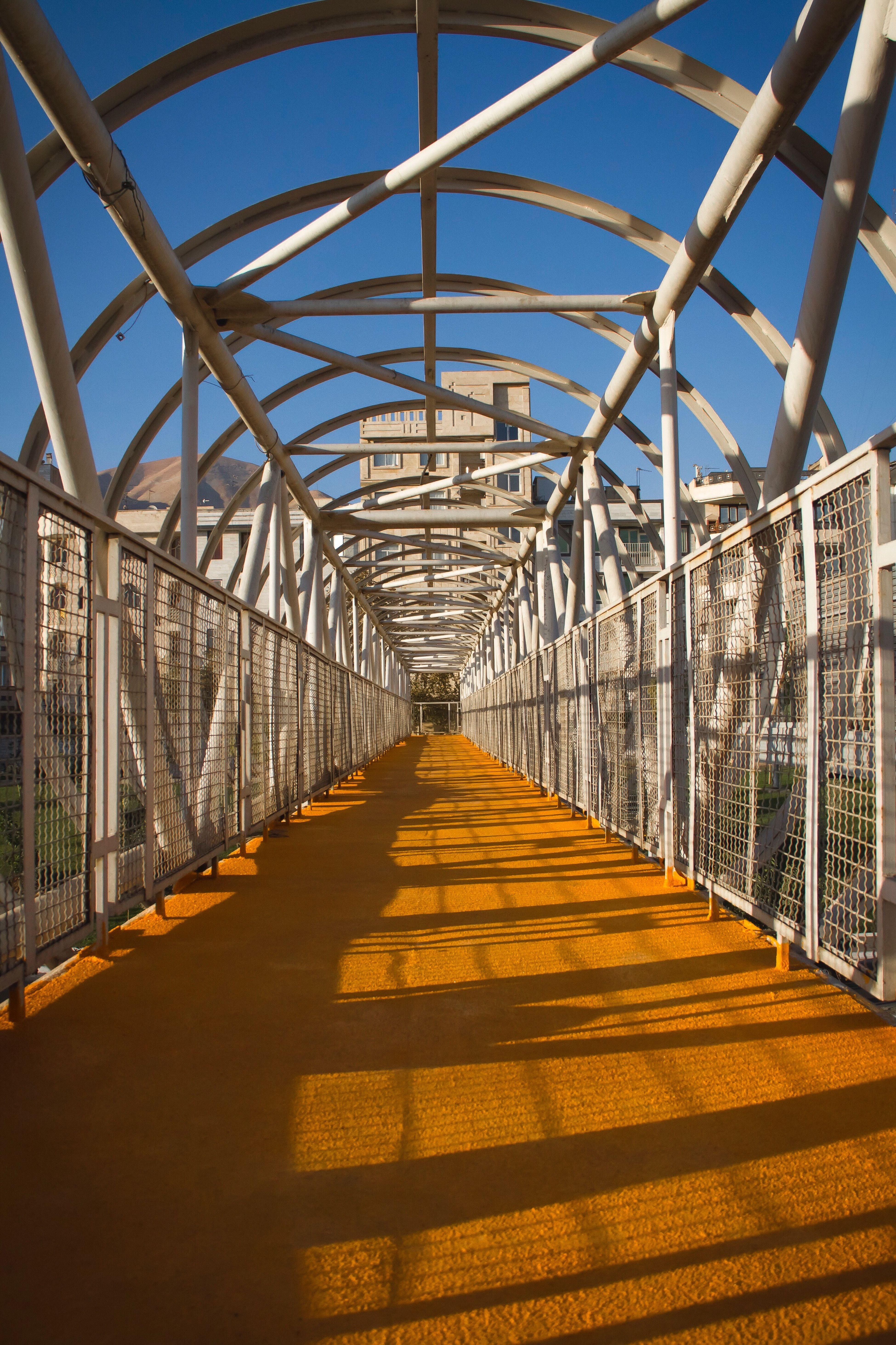 The Way Forward Clear Sky Bridge Colors And Patterns Outdoors Orang And Blue Color Contrast