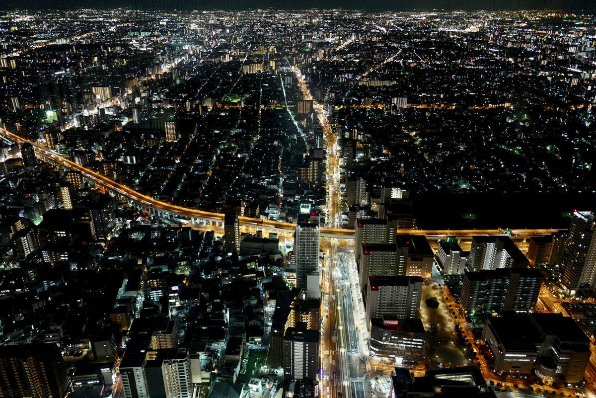 Tilt Up camera ABENO HARUKAS 300 Observatory south side view, 24 February 2017 Traffic Lights Aerial View Architecture Building Exterior Cityscape Illumination Landscape Osaka 大阪 South Side Of Field Travel Destinations Urban Skyline Osaka-shi,Japan / LEICA Q Typ116 28mm F/1.7 handheld No tripod Photos ( MacBook Air ) edit plus あべのハルカス 展望台
