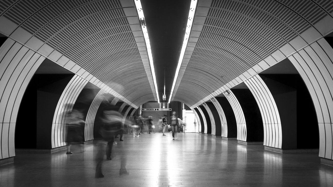 To Work Architecture Travel Built Structure Modern People Subway Train Fortheloversofblackandwhite EyeEm Gallery Urban Symmetry Symmetry Symmetryporn Subway Wien Vienna Blackandwhite Black And White Bnw Indoors  Long Exposure Low Angle View Commuter Commuting Work Urban The City Light