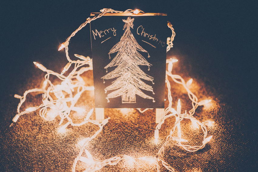 Bright Calm Chalk Chalk Board Cheerful Christmas Close-up Creativity Dark Drawing Fairy Lights Glowing Happy Holidays Ideas Illuminated Indoors  Light Merry Christmas! Night Objects Text Vibrant