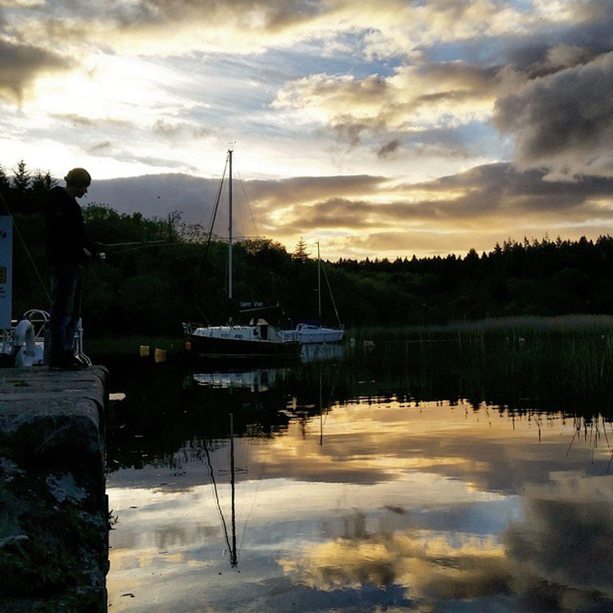 Sunset fishing 🐟 Fishing Lake Loughcorrib Irishcountryside Sunset WestOfIreland
