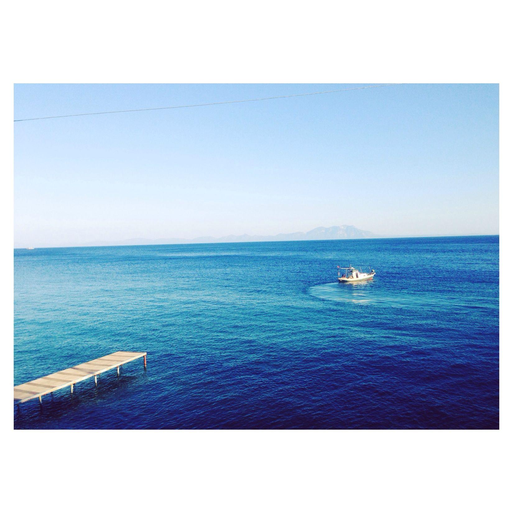 Blue Landscape Boat Sea