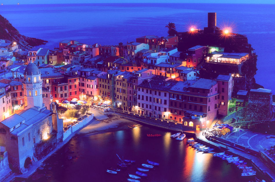 Cinque Terre Cityscape Famous Landmarks Famous Place Illuminated Italy Liguria Manarola Night No People Outdoors Panoramic View Portofino Touristic Attraction Vernazza Villages Vintage Vintage Photo