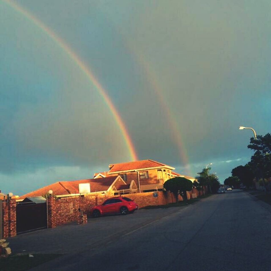 Double Rainbow equals Luck Rainbow🌈 Rainbows Double Rainbows Lucky Charms Pot Of Gold VW Beetle Red Outdoors No People Day South Africa Port Elizabeth Street Photography