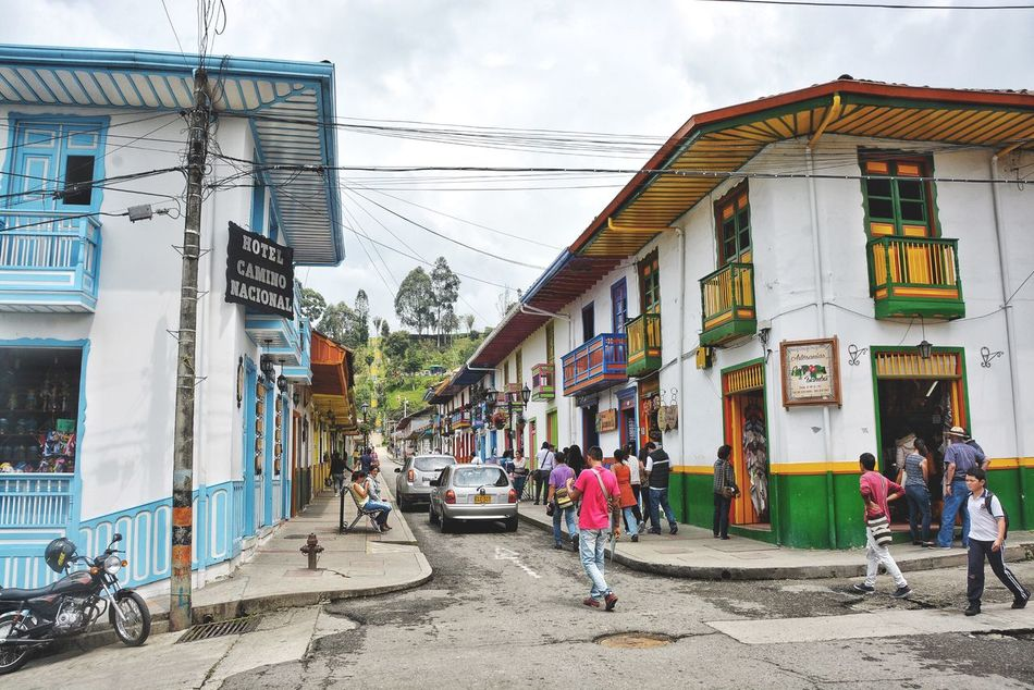 Salento, a small, old and colorful town. Building Exterior Architecture Built Structure Real People Town Village Village Life Culture Tourist Attraction  Tourist Destination Colombia Color Street Old Town Quindío Life Travel Destinations Travel Colorful Houses Colors Colorful Town City Urban Lifestyle Cities