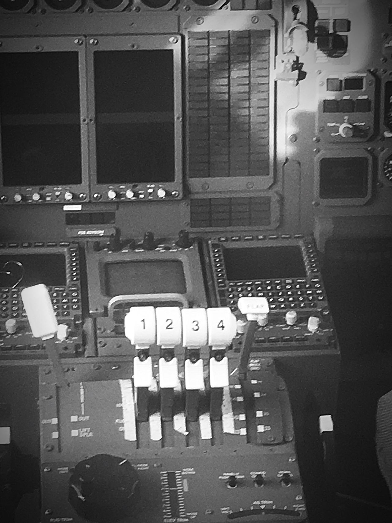 A deserted flight deck, no power. A ghost town. Group Of Objects In A Row Large Group Of Objects No People Arranged Airplane Aircraft Throttle Avro RJX