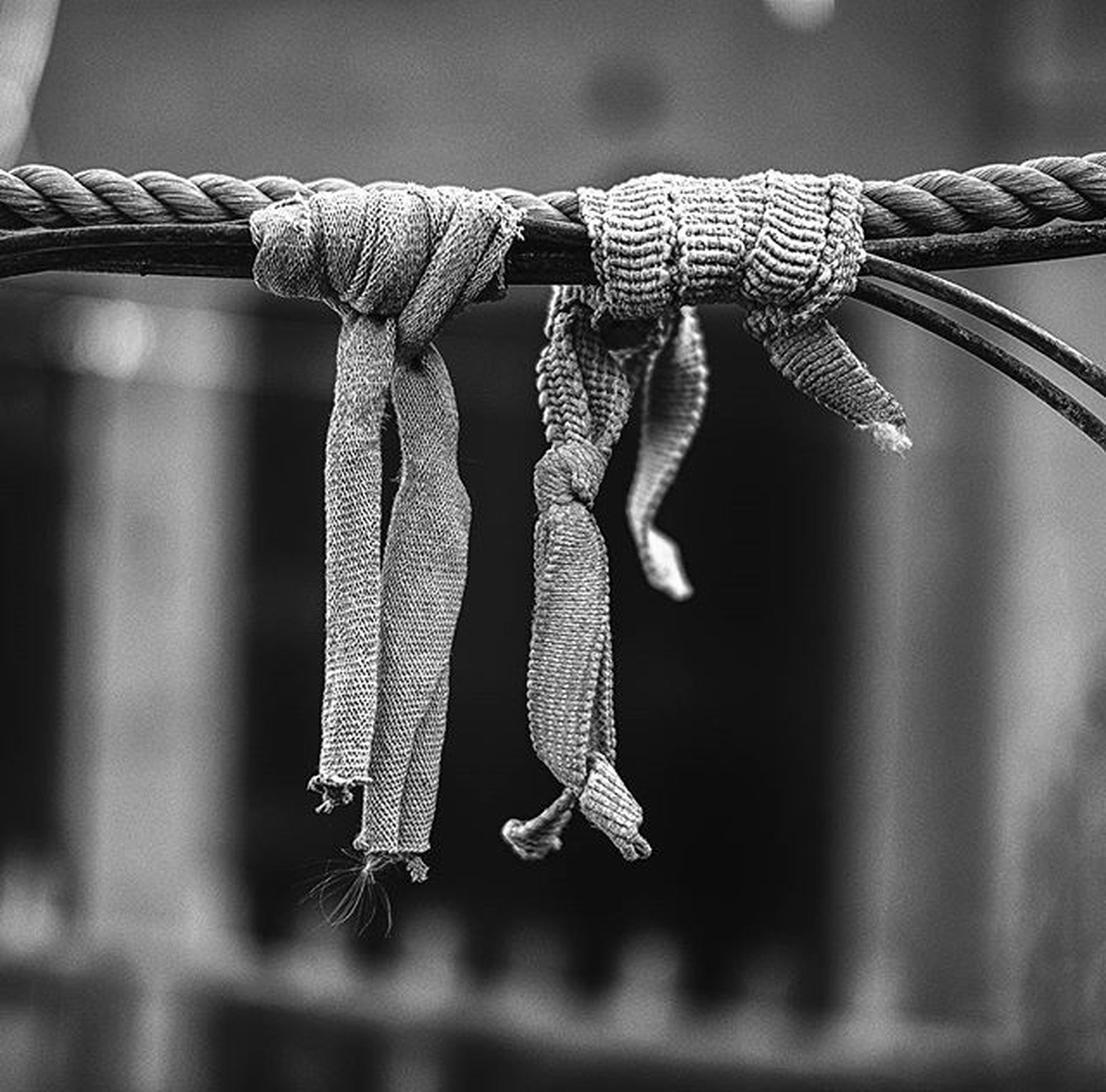 hanging, still life, close-up, indoors, focus on foreground, no people, selective focus, textile, variation, fabric, rope, group of objects, clothing, white color, clothesline, day, string, tied up, large group of objects, table