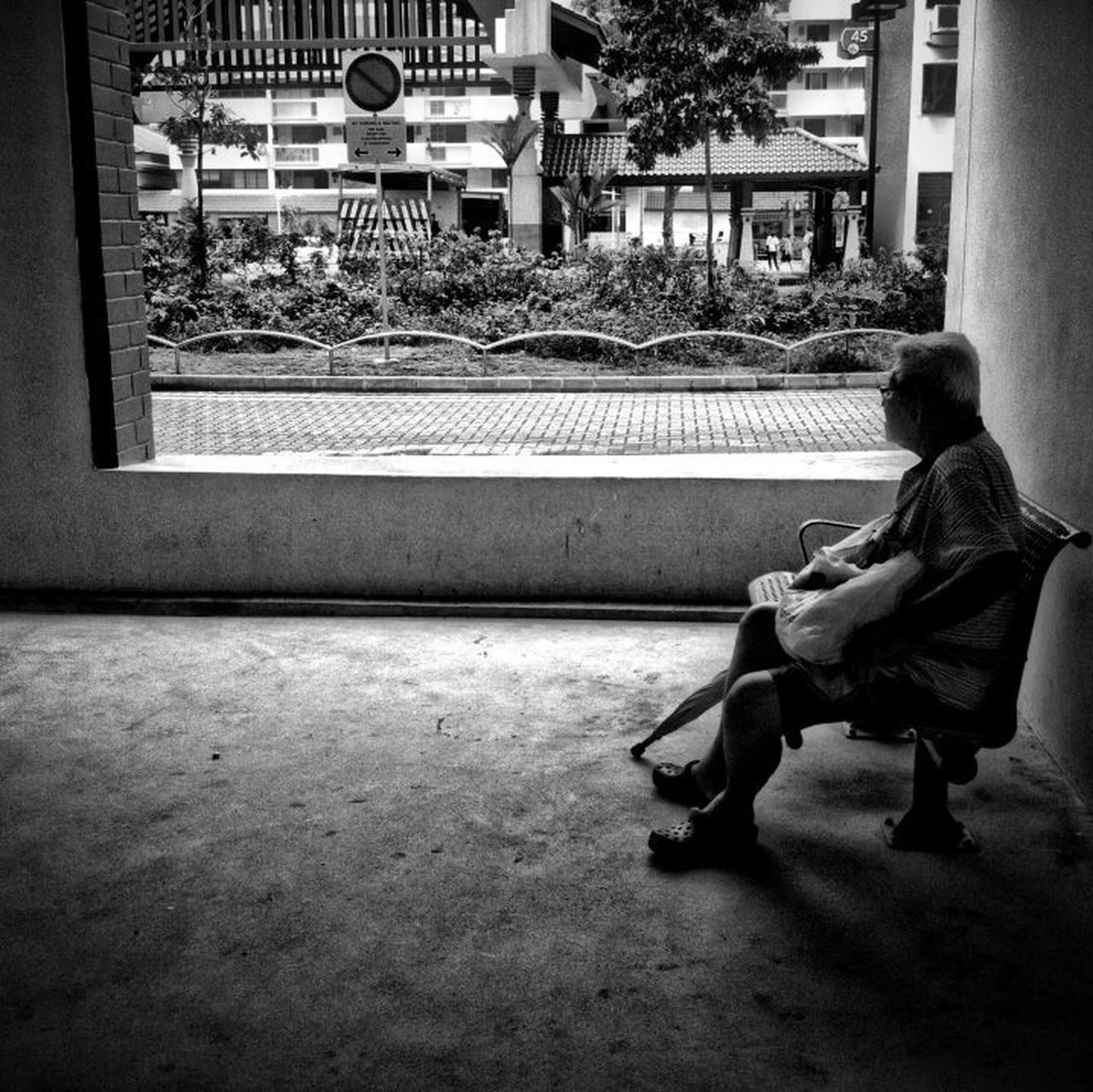 Blackandwhite Streetphotography Streetphoto_bw Street Photography People Snapshots Of Life B&W Portrait Old Man Resting Bench Void Deck
