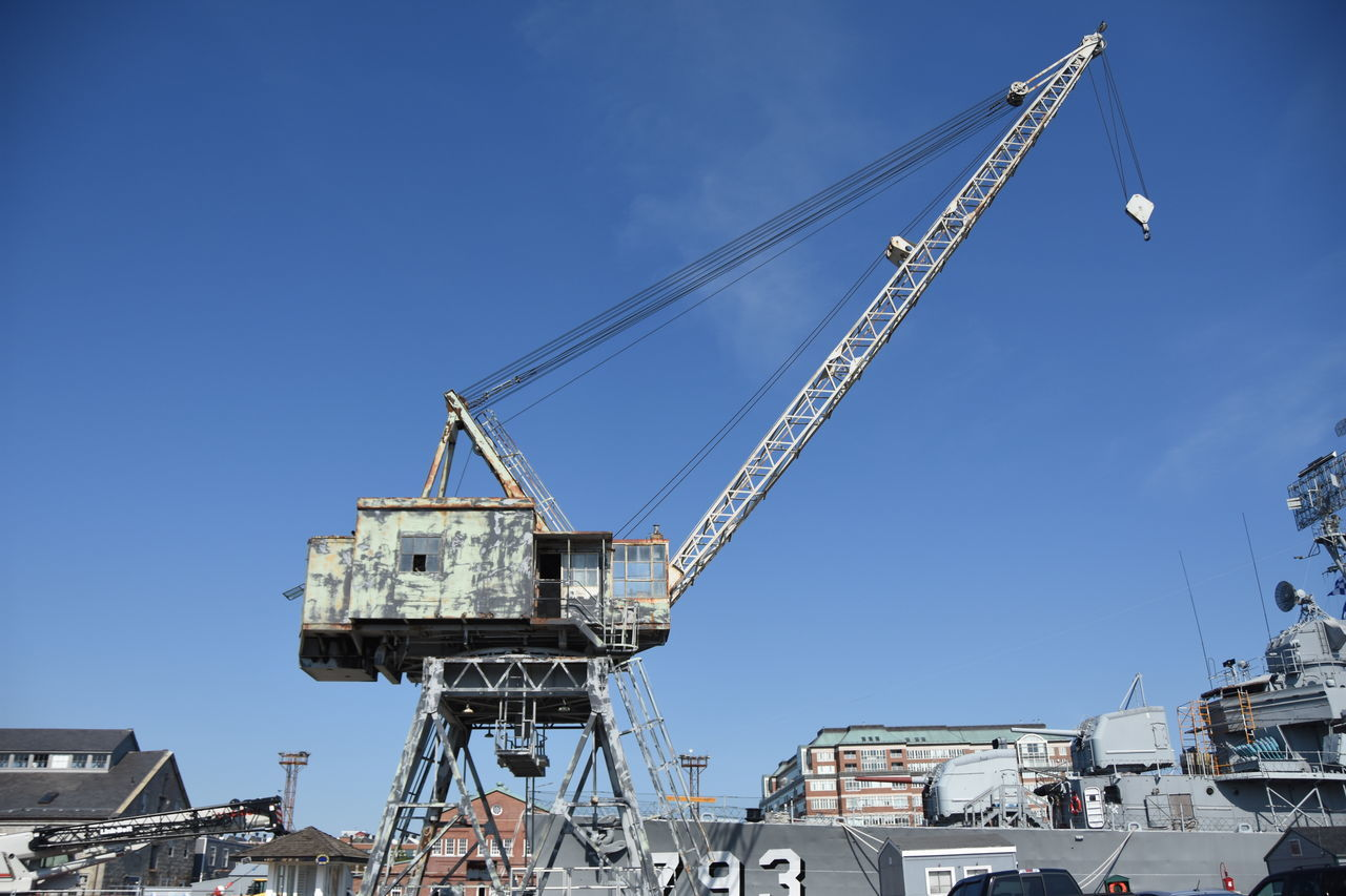 Blue Sky Clear Sky Construction Crane Crane - Construction Machinery Famous Place Industry Overhead View Perspective Sightseeing Technology Top Perspective Vintage