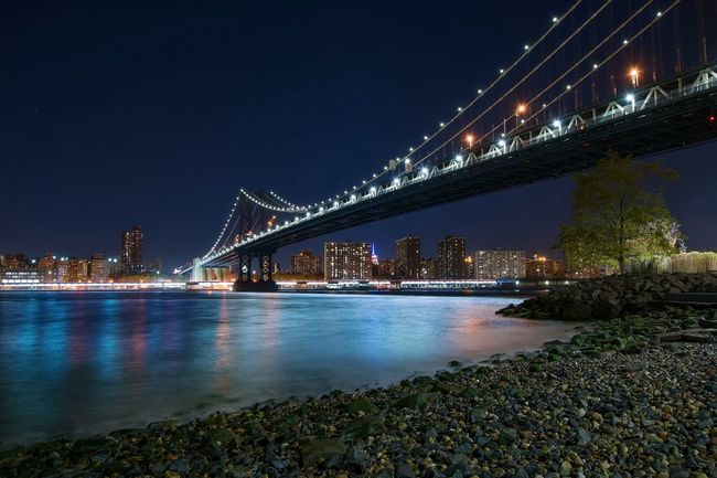 NYC New York New York City Cityscapes Long Exposure Bridge Manhattan Manhattan Bridge Manhattan Skyline Blue Sky Water Reflections Colorful