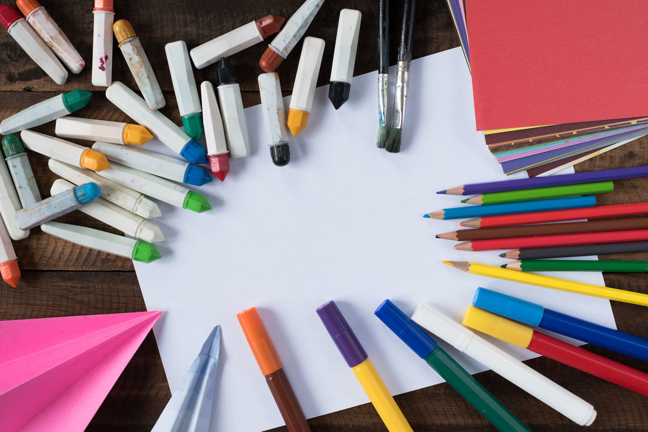 tools of creativity Creativity Imagination Pencils Activity Art Colour Coloured Day Draw Idea Indoors  Large Group Of Objects Marker Pen Month Multi Colored Origami Painting Paper Papers School Table Variation Vision Water Colors Watercolor