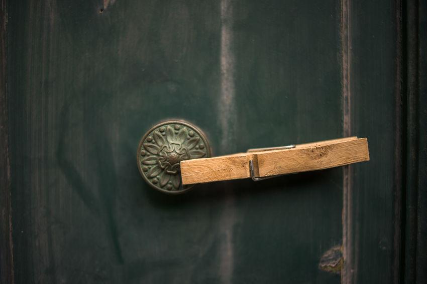 Close-up Clothes Peg Day Door Door Knob Green Door Metal No People Pink Color Wood - Material