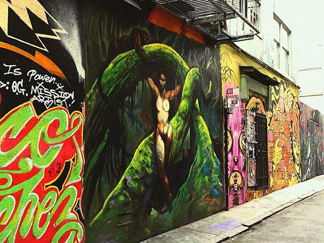Street Artist 16th And Mission Street Sidewalk Art Work Unique Perspectives