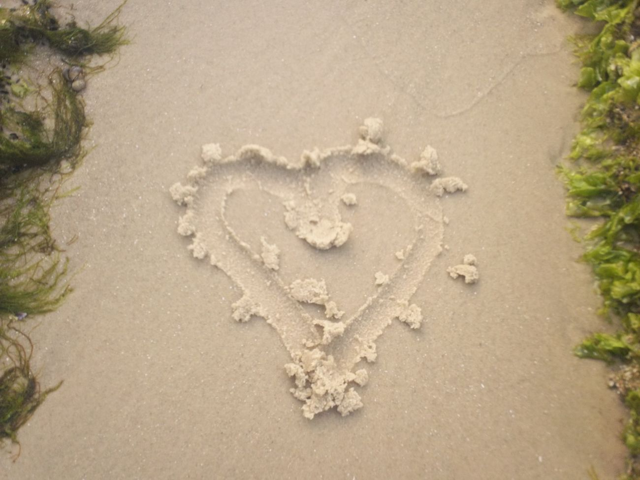 Art And Craft Beach Creativity Day Drawn Heart Shape High Angle View Love Nature No People Outdoors Sand
