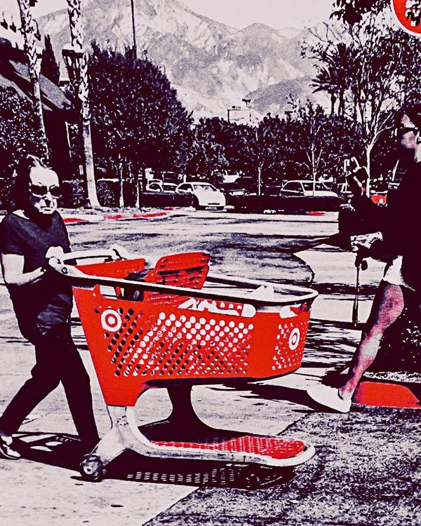 Pushing Shopping Carts And Looking Awesome. Fashion Look Rockin' Sport Shoppers Target David Lee Roth Is At My House Right Now But He's Different Somehow. Crosswalk Old Woman Young Woman Parking Lot Black And Red Full Length Cars Monster Edit Drastic Edit Modern Times EyeEm Best Shots Exactly How Is That True? Allgood Tuesday Skinny Jeans