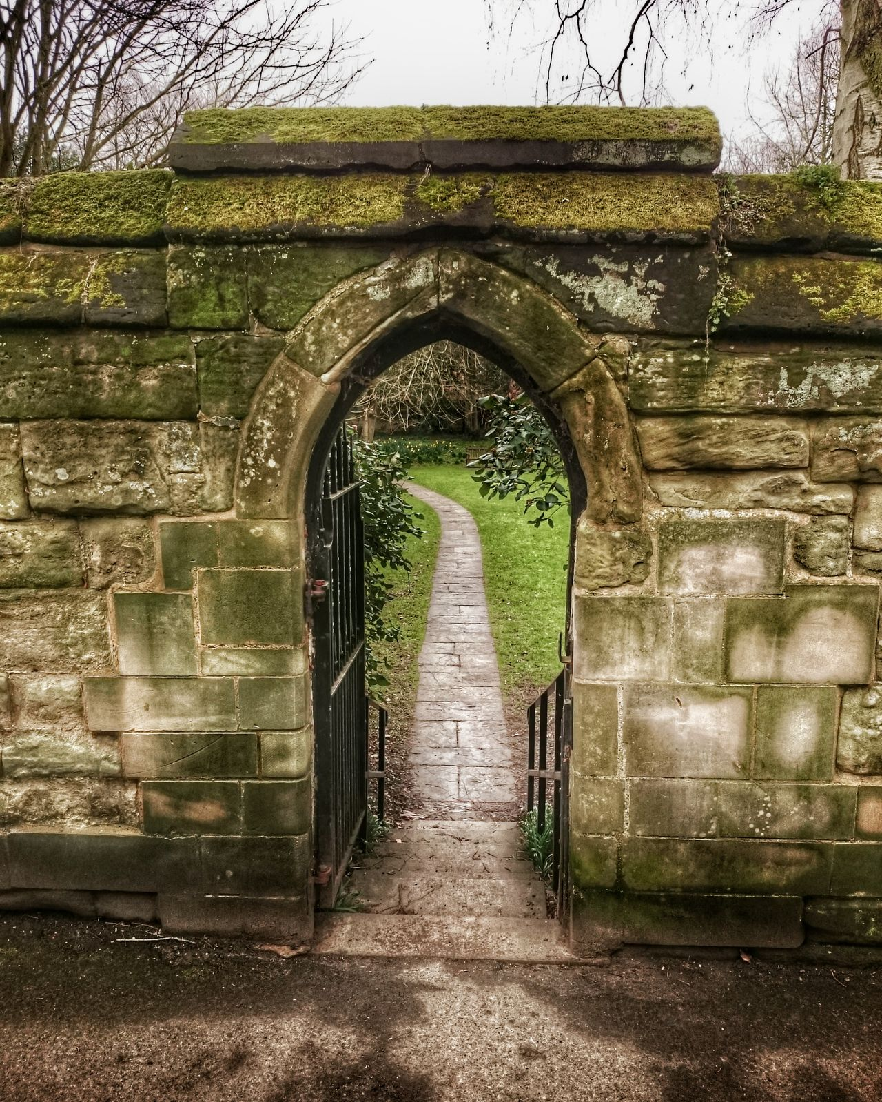 Stone Arch Stone Wall Old Town Path Garden February Gloomy Weather Flagstones Warwick Warwickshire Doorway Stone Steps Moss-covered Stained Fine Art Photography