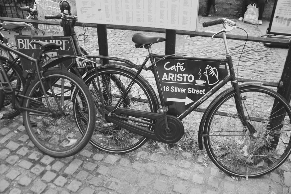 Blackandwhite Bycicles Bikes Advertising Cambridge Riverside Cam