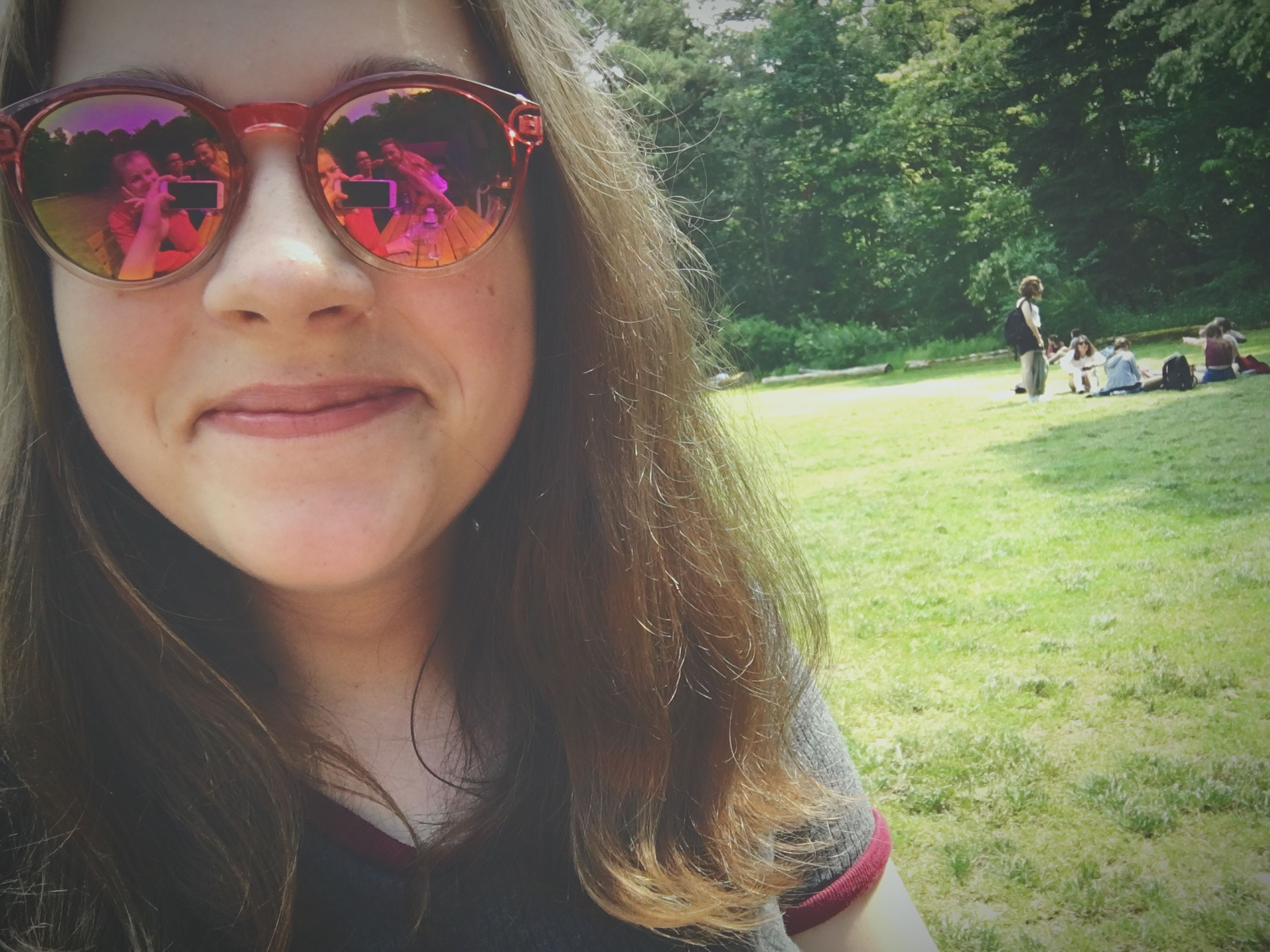 person, portrait, lifestyles, looking at camera, young adult, leisure activity, young women, headshot, smiling, front view, sunglasses, happiness, close-up, long hair, girls, grass, focus on foreground