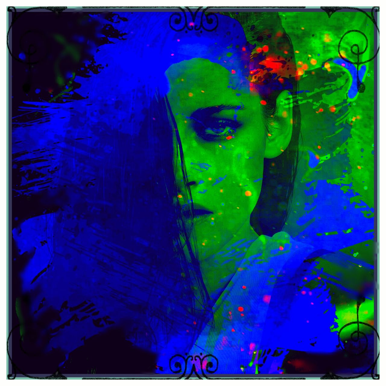 Art And Craft Backgrounds Bestoftheday Blue Bold Color Enhanced Colorful Creativity Full Frame Light And Shadow Multi Colored Mystical No People Popart Portrait Of A Woman Shadowplay Surrealism Surrealist Art Vibrant Vibrant Color Vivid Water