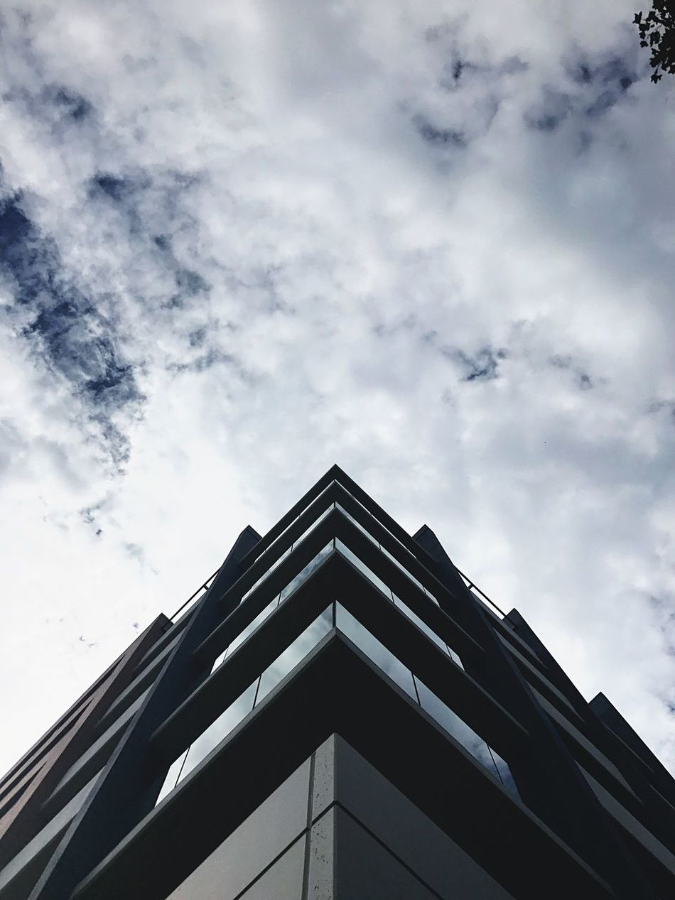Symmetry Low Angle View Architecture Building Exterior Built Structure Sky Cloud - Sky Day No People Modern Outdoors City City Life Cityscape Perspective Building Office Building Windows Apartment Buildings & Sky Cloud Clouds Architecture Architecture_collection Australia Street Photography Art Is Everywhere