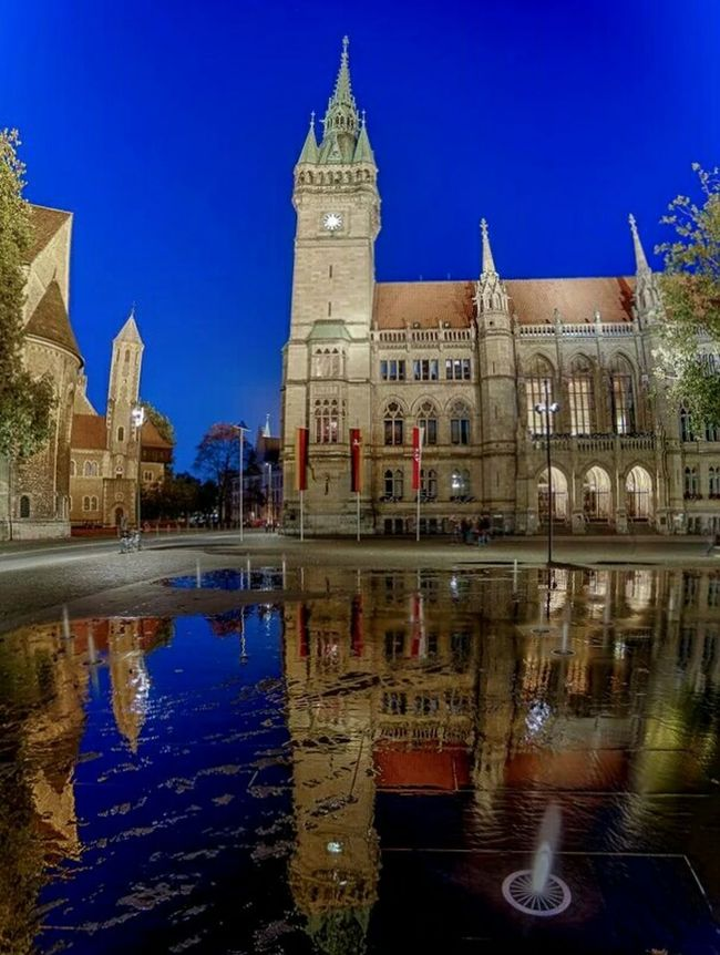 Fountain play Townhall Neo Gothic Architecture Water Reflections Water Fountain Brunswick Braunschweig