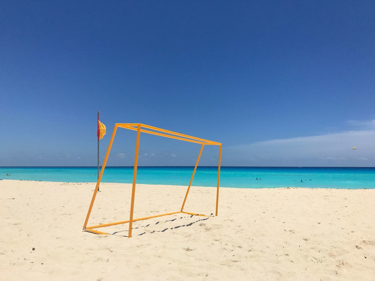 The weather 😭 Beach Beachphotography Sea Ocean Atlantic Ocean Soccer Football Summer Sunny Blue Blue Sky Yellow Colors Geometry Lines Nature Landscape Photography Cancun Mexico