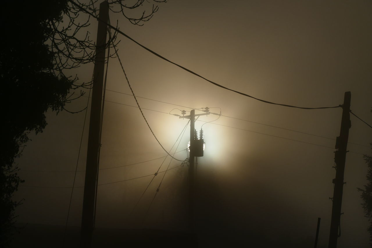 Foggy day.. Cable Connection Day Dream States Electricity  Electricity Pylon Ethereal Fog Foggy Foggy Weather Fuel And Power Generation Low Angle View Nature No People Outdoors Power Line  Power Supply Silhouette Silhouette Silhouette_collection Sky Softness Sunset Technology Tree