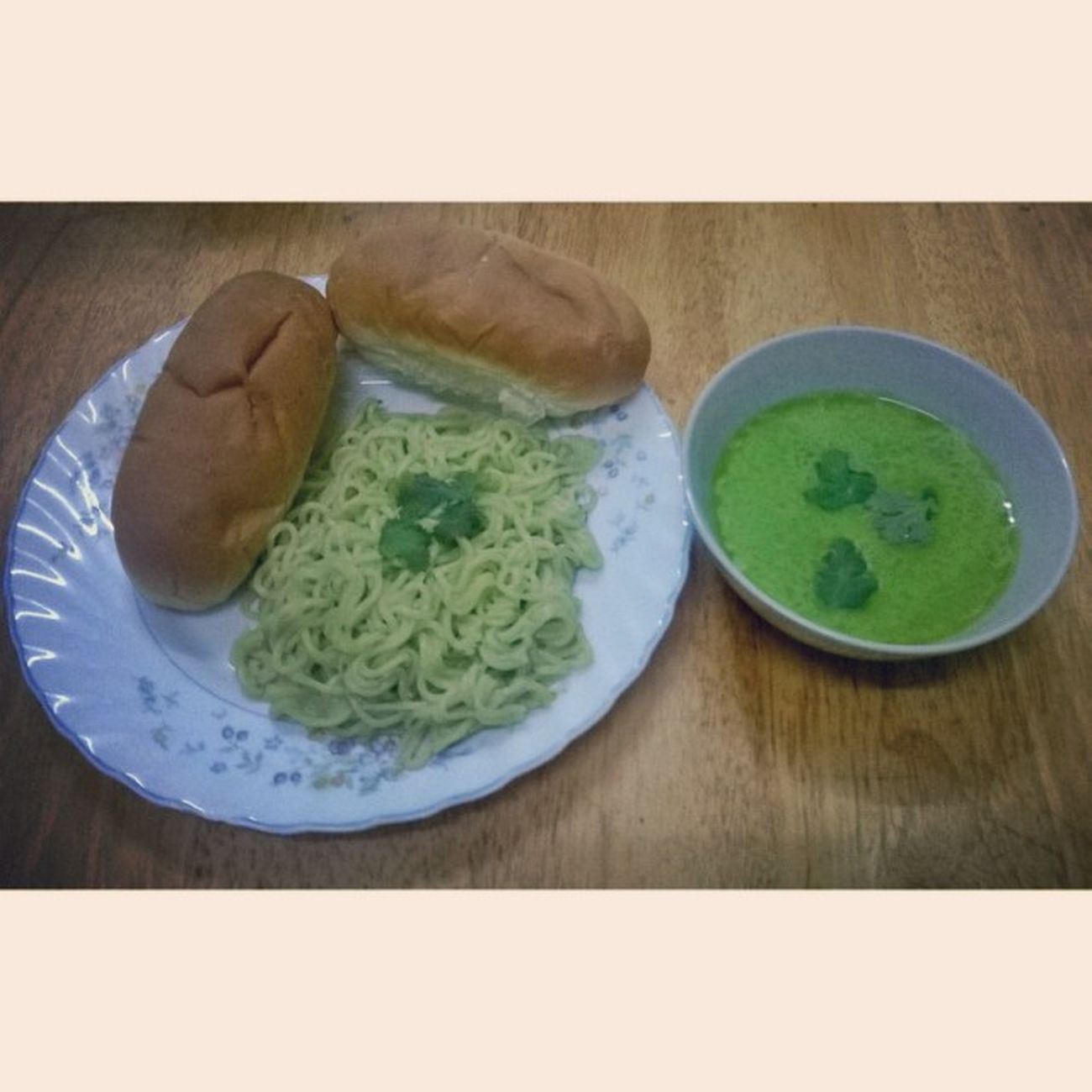 A little more than Noodles! Noodles Greenchillisoup Bread Small foodphotography instagram instafamous instafood instagood