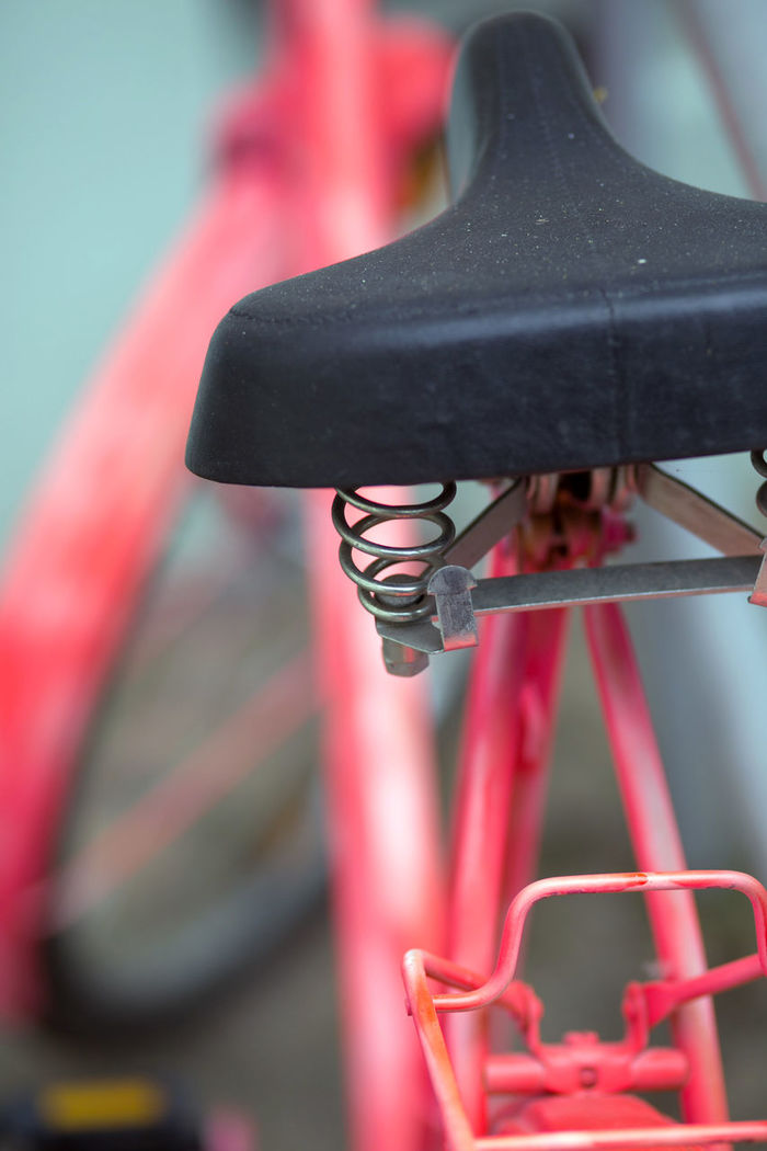 Bicycle Bicycle Rack Close-up Day No People Old Bike Outdoors Pink Color Shabby Look Transportation