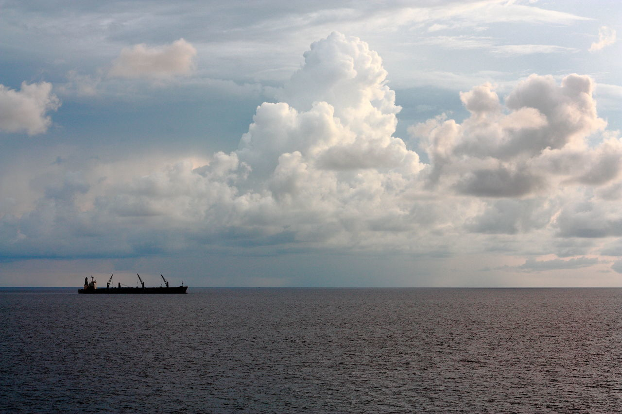 Beauty In Nature Bulk Carrier Cloud Clouds Cloudscape Enroute To Paradise Horizon Over Water Journey Majestic Mode Of Transport Nature Nautical Vessel Rippled Sailors Scenics Sea Seascape Ship Sky Tranquil Scene Tranquility Transportation Water Water Transports Waterfront