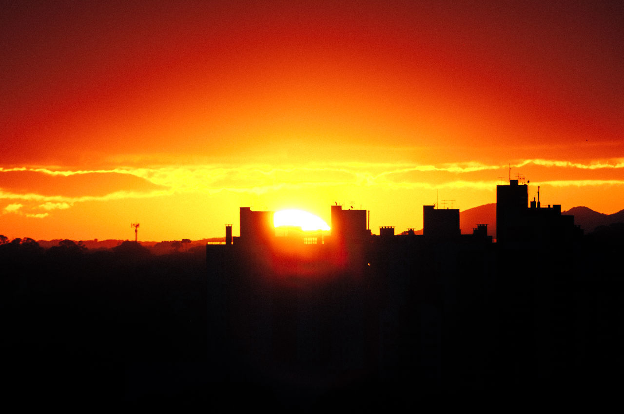 Architecture Beauty In Nature Building Exterior Built Structure City Nature No People Orange Color Outdoors Silhouette Sky Sunset