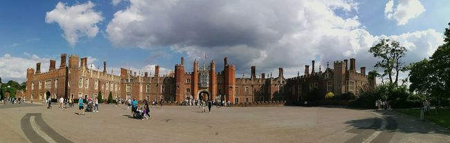 Hampton Court Palace Architecture Medieval Architecture History Henry VIII Historical Building Entrance People Panoramic Cloud - Sky People Walking  Light And Shadow