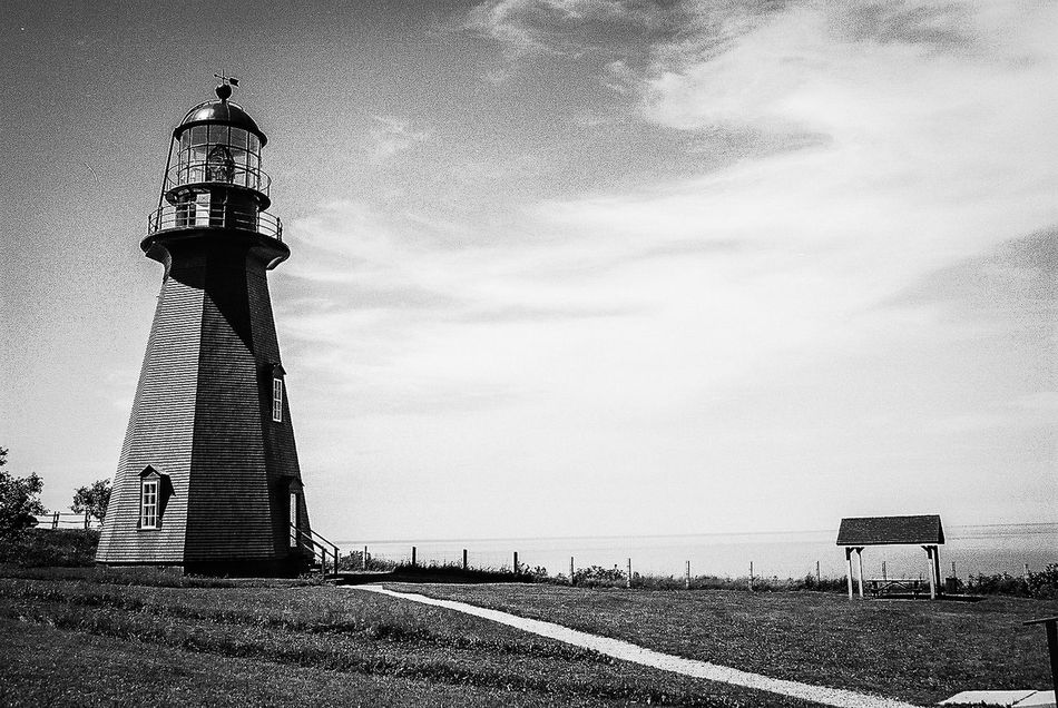 Lighthouse Canada Light And Shadow Black And White Kodak Film La Martre (Québec)