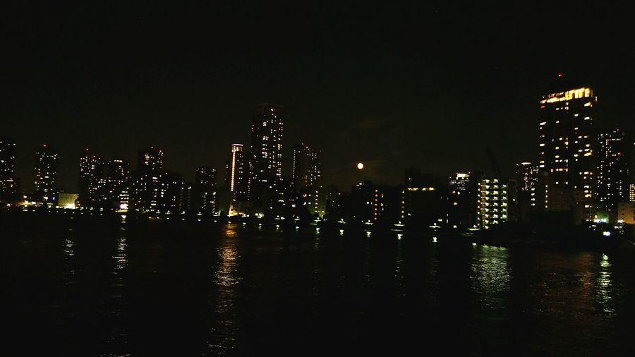 Kachidoki Bridge Night View Fullmoon Taking Photos Metropolis Tokyo,Japan Walking Relaxing Enjoying Life Watetfront