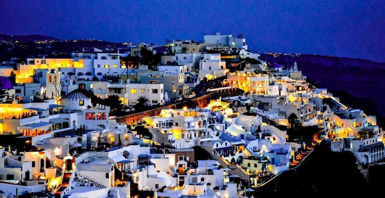 #santorini Architecture Blue Building Exterior Built Structure City Cityscape High Angle View House Illuminated Night No People Outdoors Residential Building Sky Town