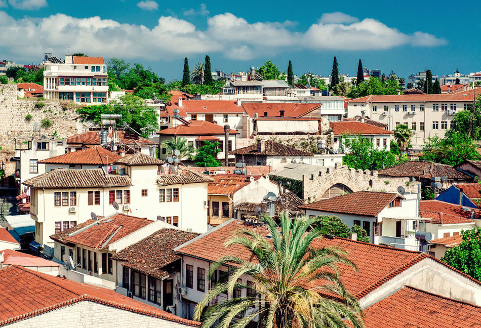 Antalya cityscape. Turkish resort Antalya Turkey Architecture ASIA City Cityscape Cloud - Sky Holiday Houses Landscape Middle East Nature Outdoors Palm Trees Rooftops Scenery South Summer Sunny Day Tourism Town Travel Destinations Tropical Climate Turkey Turkish Riviera Urban Landscape