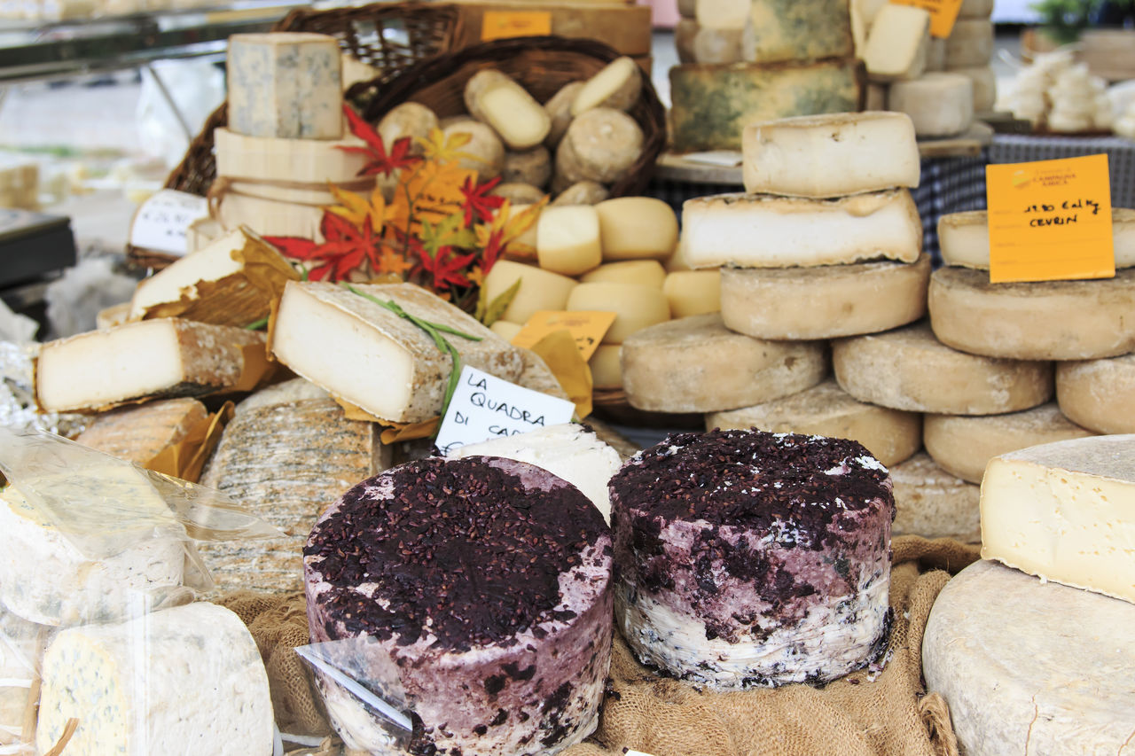 variation, food, food and drink, retail, choice, label, cheese, for sale, freshness, no people, price tag, healthy eating, slice, market, indoors, close-up, day