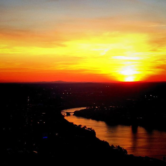 View from Prudential Center, Boston Sunset River High Angle View Orange Color Tranquil Scene Dark Outline