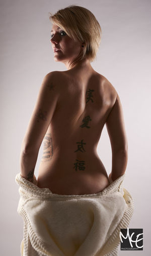 Backside Portrait Beautiful Model Piercing Portrait Studio Photography Studio Shot Tattoo