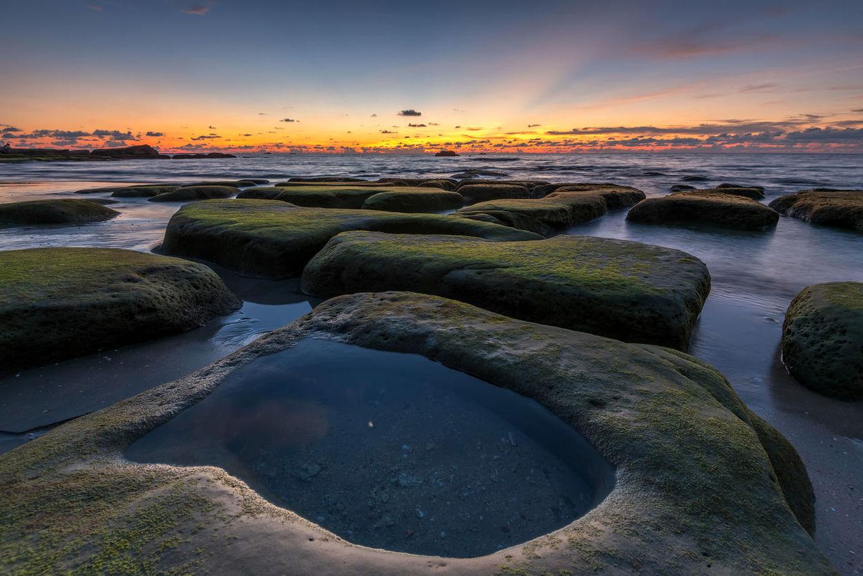 Landscape Seaviews Beach Beautiful Sunset Big Rock Sunset Nature Sea Green Tourism Rock Rock Formation Sea And Sky Mossy Stone