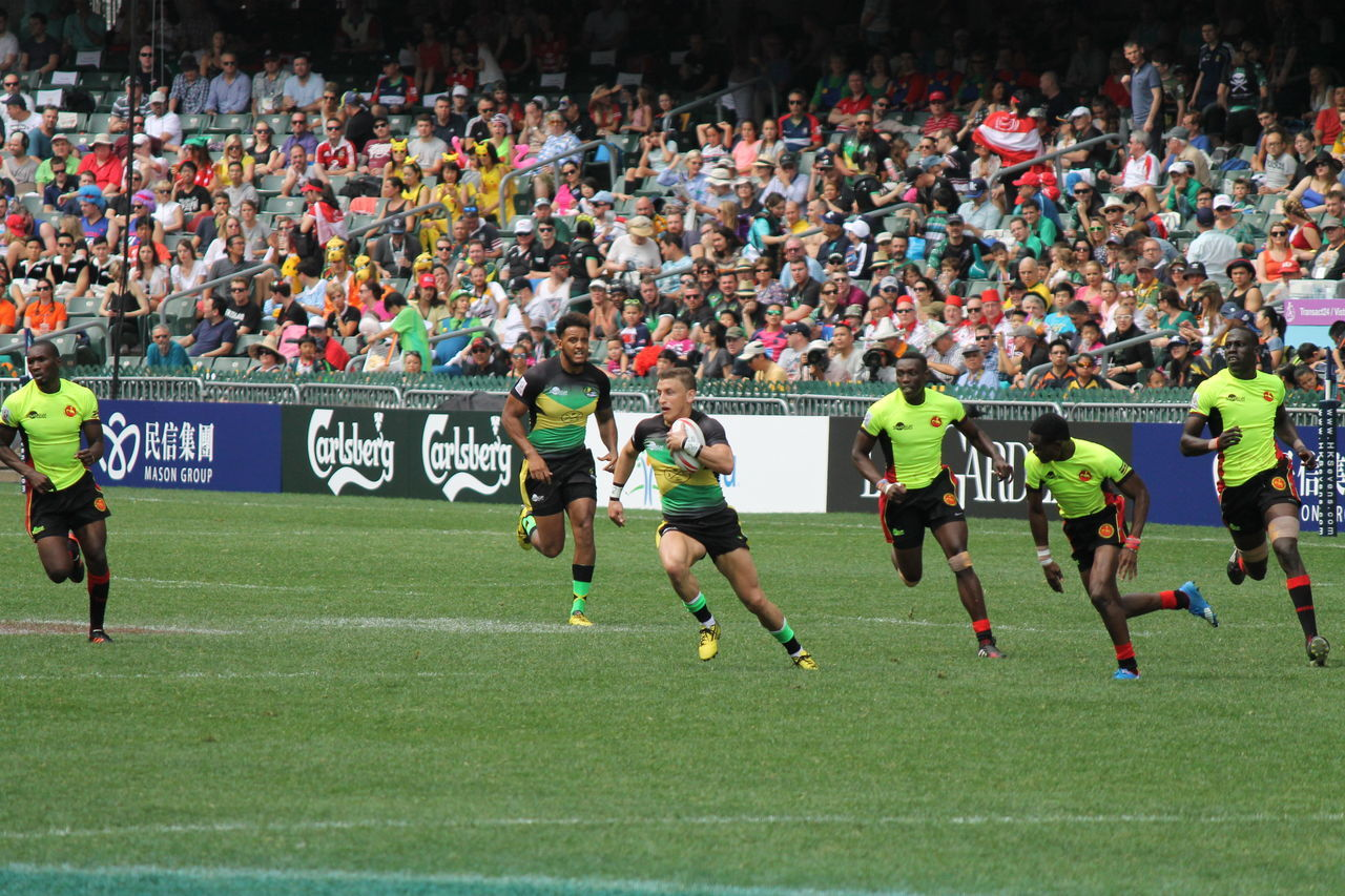 HSBC World Rugby Sevens Series 2017  Audience Competition Competitive Sport Crowd Day Fan - Enthusiast Grass Large Group Of People Match - Sport Men Outdoors People Rugby Rugby Sevens Rugby7 Running Running Soccer Team  Spectator Sport Sports Team Sportsman Stadium Teamwork Togetherness