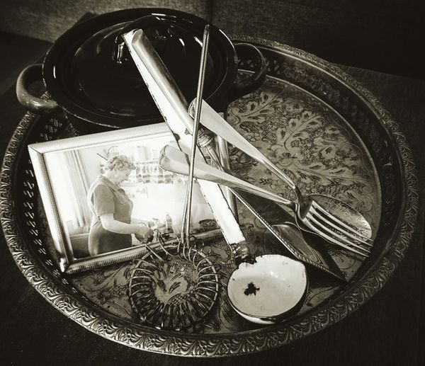 Sentimental mood. . Simplicity Atmospheric Mood Indoors  Grandmother Kitchen Utensils Close-up Heirlooms Collected Community Collection Open Edit Black & White Black And White Photography EyeEm Best Shots - Black + White Eye4photography  EyeEm Best Edits Social Issues Showcase: February Table Framed Family