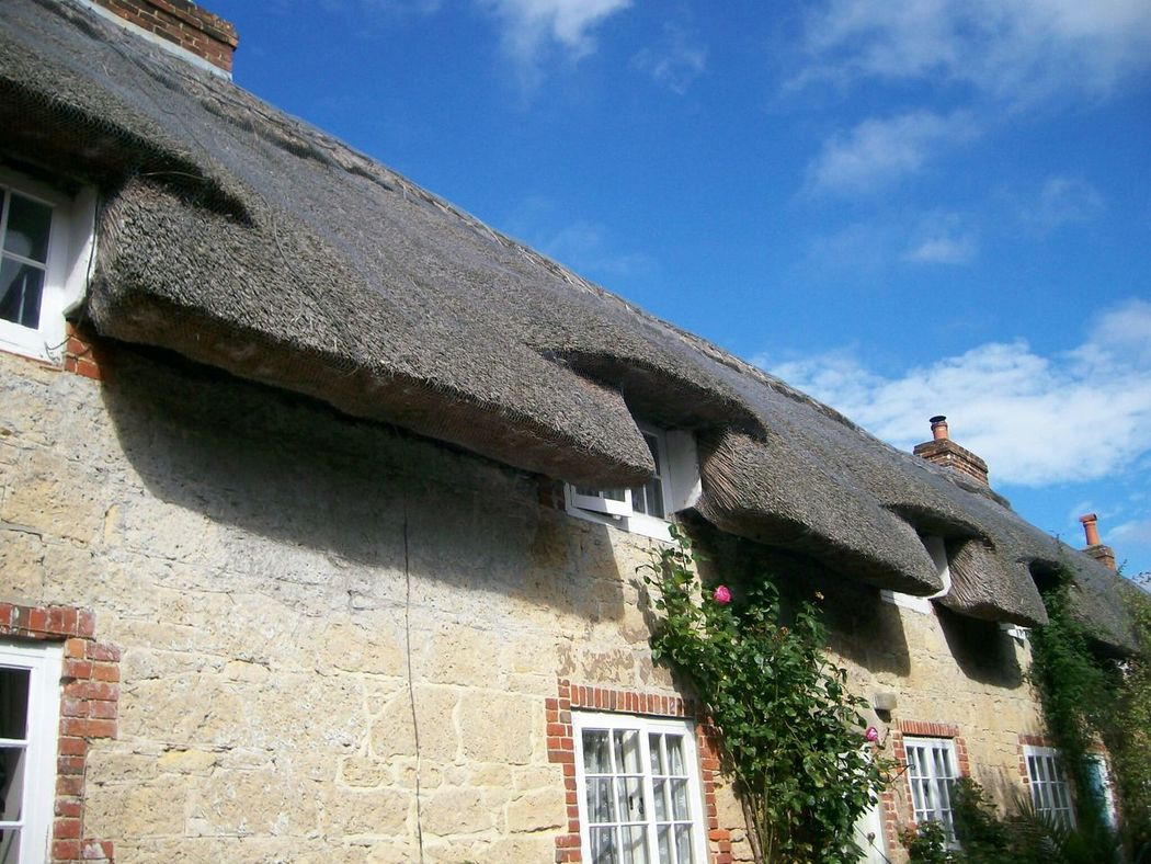The pretty little road often called Winkle Street is on the Isle Of Wight  . Almost a trip back in time the lane has Thatched Roof Cottages with a stream running at the side and a old sheep wash. Blue Sky Old Buildings