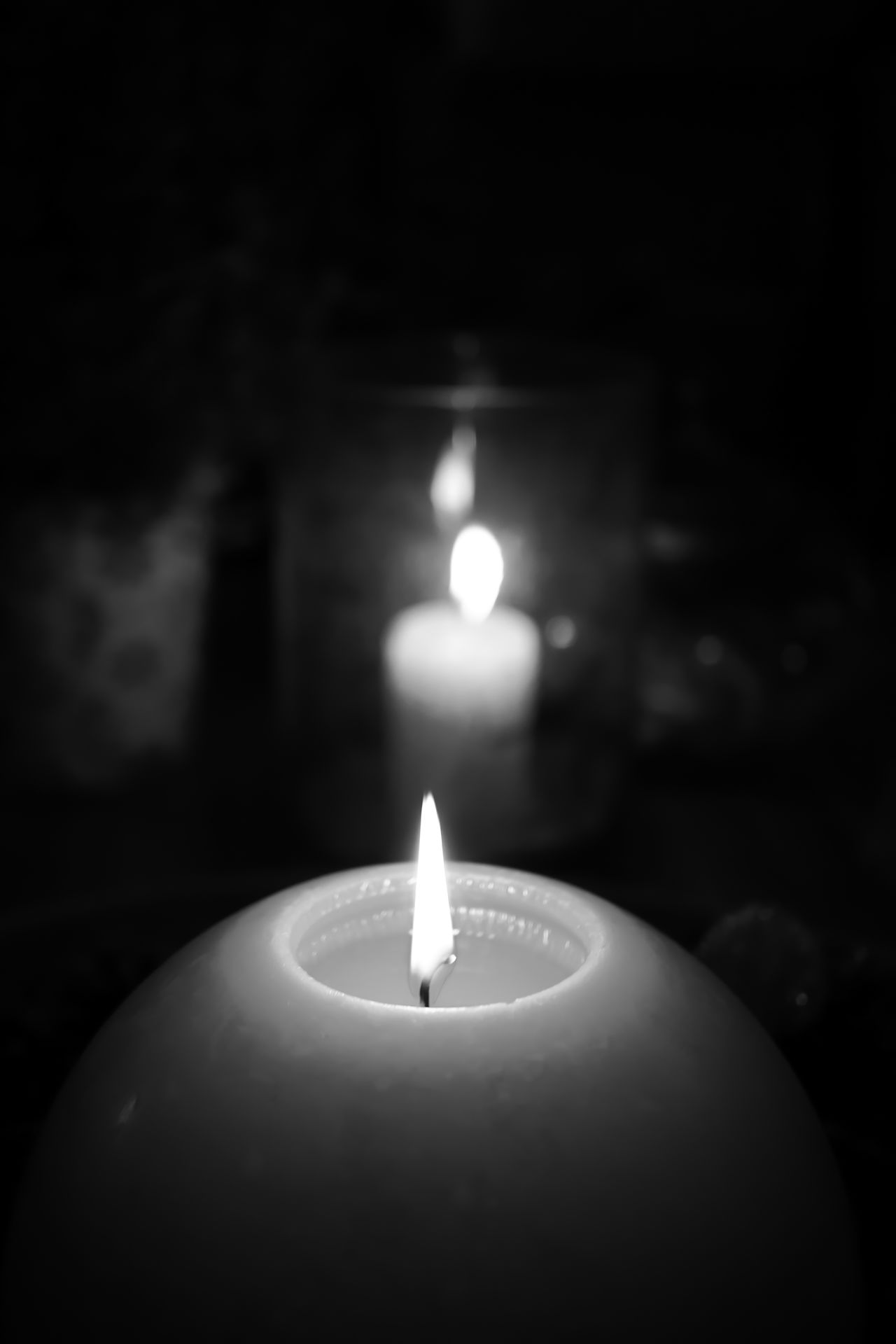 Flame Candle Burning Focus On Foreground Heat - Temperature Close-up Illuminated Dark Indoors  Light In The Darkness Blackandwhite Black & White Black And White Candles Candle Light