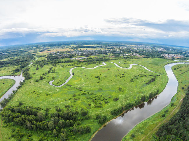 Over the river Mologa near Maksatikha. Aerial Aerial View Beauty In Nature Cloud - Sky Day Grass Green Color Horizontal Landscape Maksatiha Maksatikha Mologa Nature No People Nobody Outdoors River Scenics Water